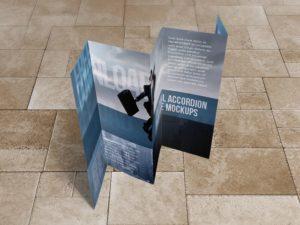 8.5x14 Five panel accordion brochure mockups