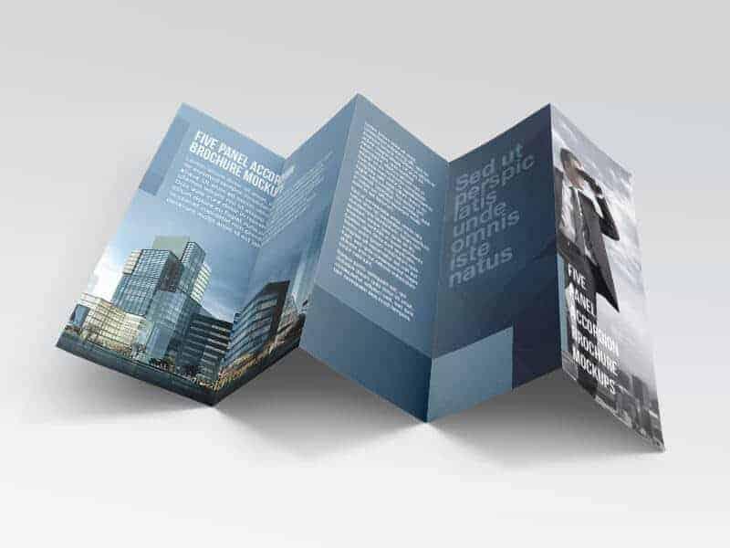 Free Five panel accordion brochure mockups