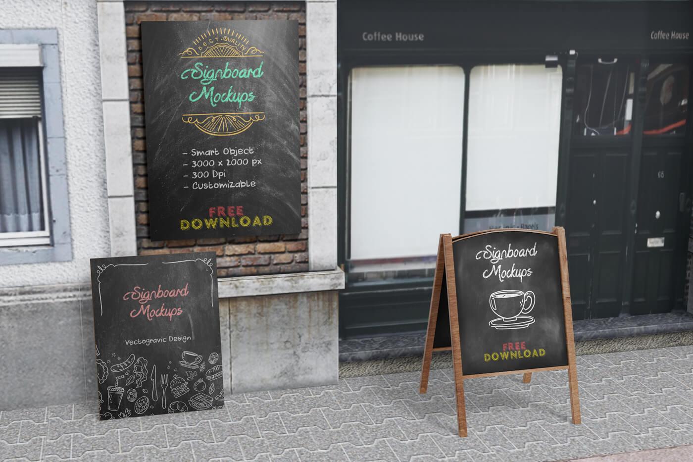 Signboard Menu Mockups