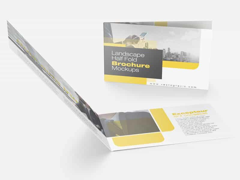 02 Landscape Half Fold Brochure Mockups