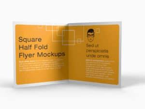 Square Half Fold Brochure Mockups