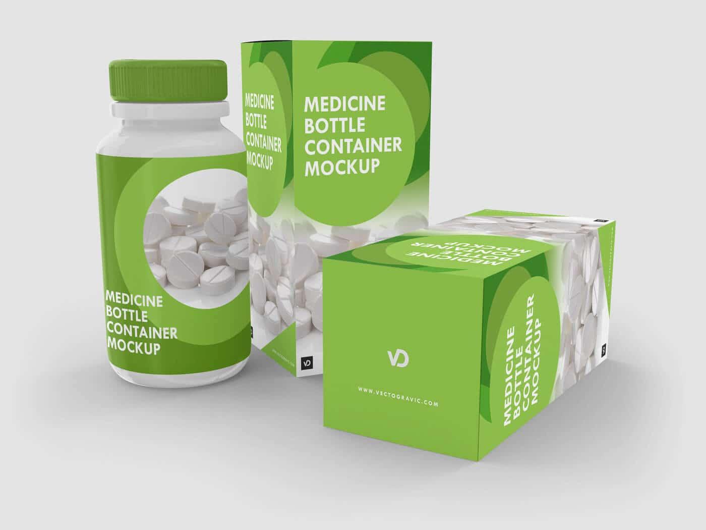 Medicine Bottle Container Mockups