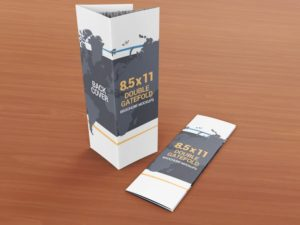 8.5 x 11 Double Gate Fold Brochure Mockups