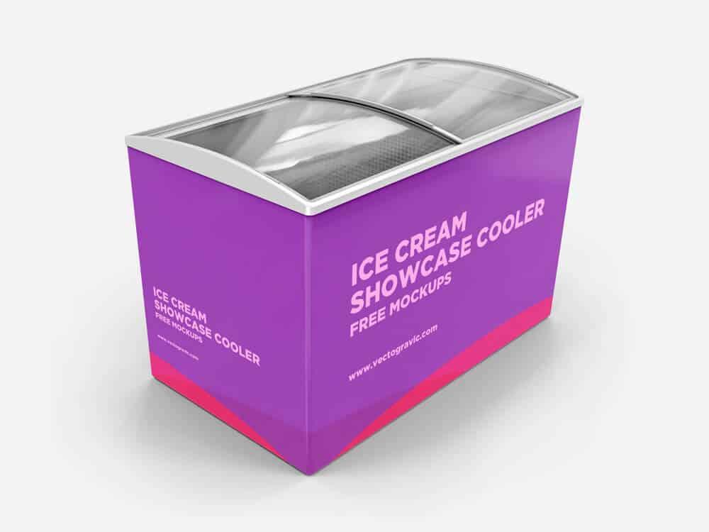Ice Cream Showcase Cooler Mockups