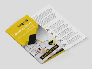 Customizable PSD Construction Trifold Brochure Template