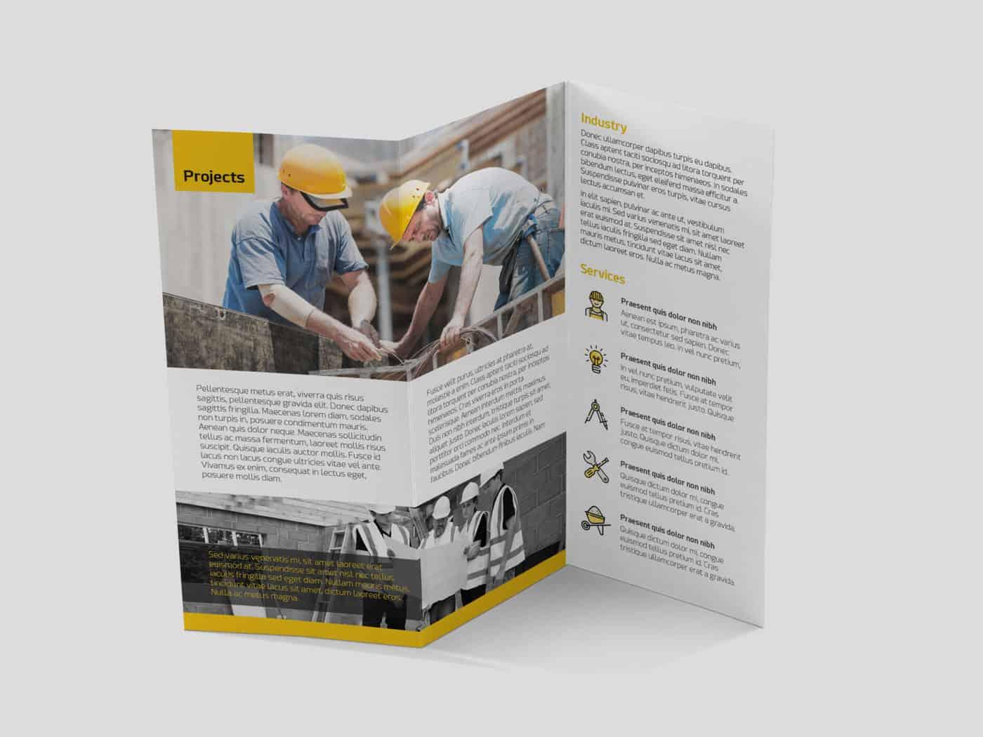 Customizable PSD Construction Trifold Brochure Template