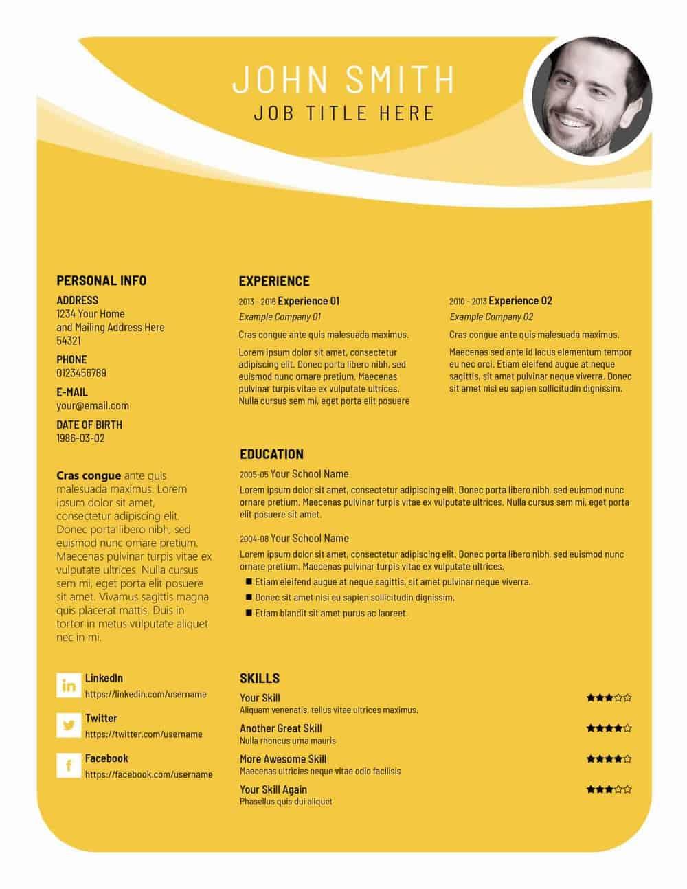 Free PSD Resume Templates