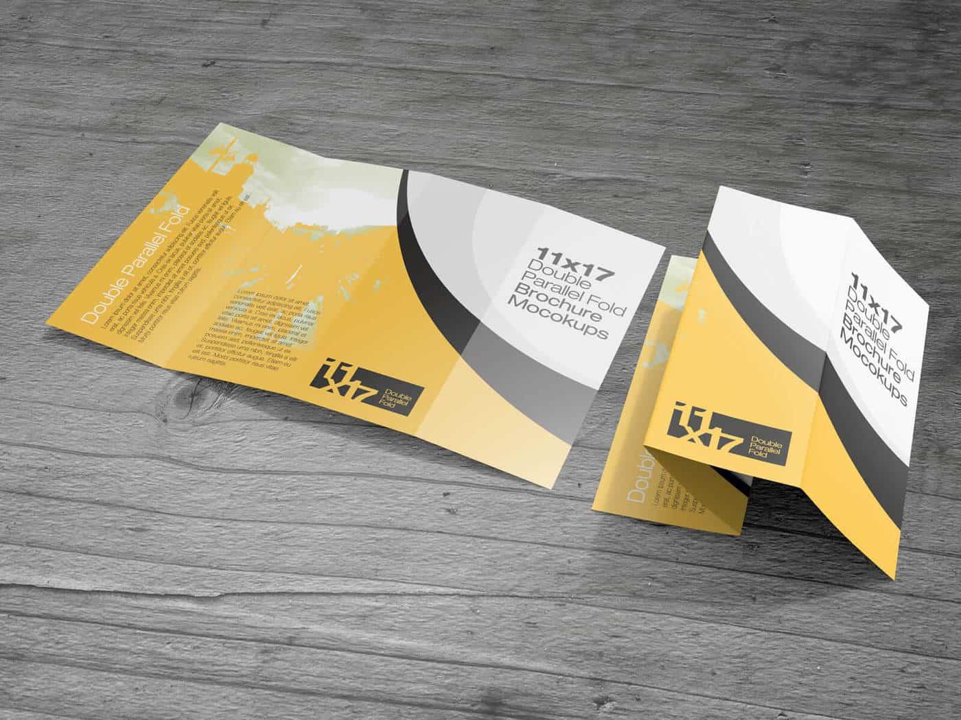 11x17 Double parallel Fold Brochure Mockups
