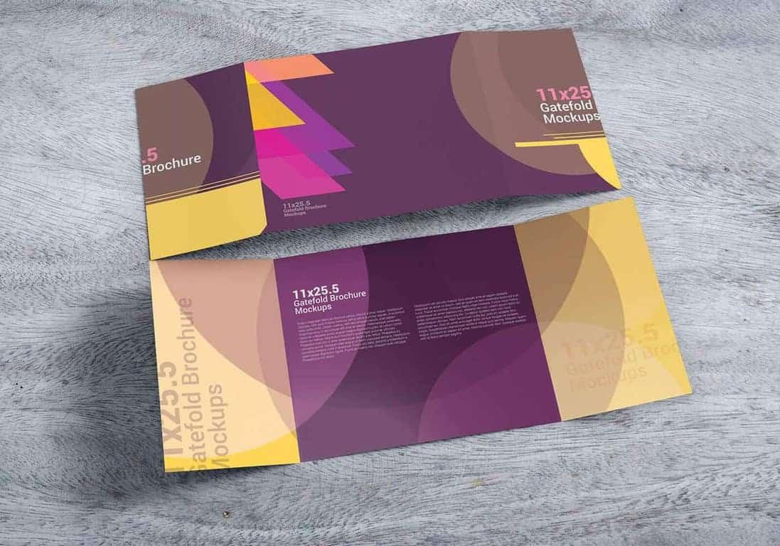 11x25.5 Gatefold Brochure Mockups
