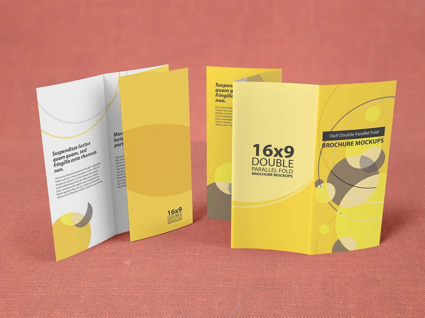 16x9 Double Parallel Fold Brochure Mockups