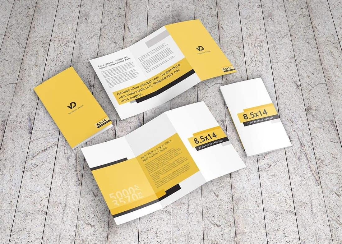 8.5 x 14 Z-Fold Brochure Mockups