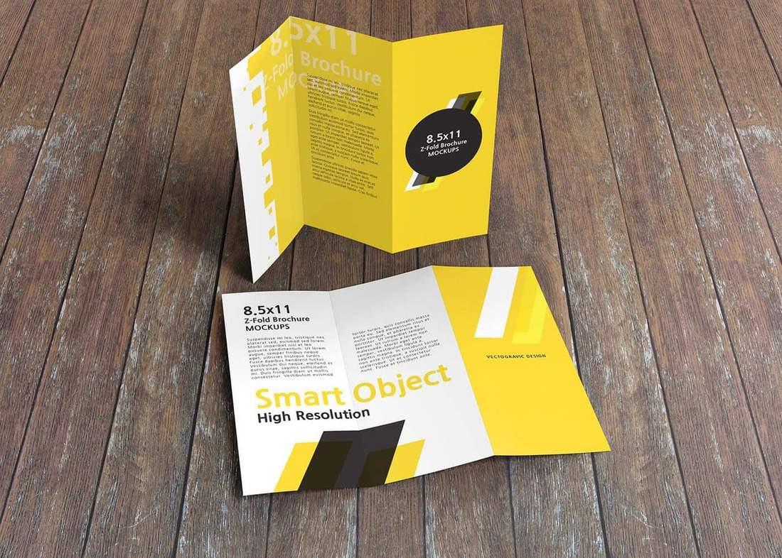 8.5x11 Z-Fold Brochure Mockups
