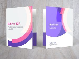 "Pocket Folder Mockups with CD 9.5"" x 12"""