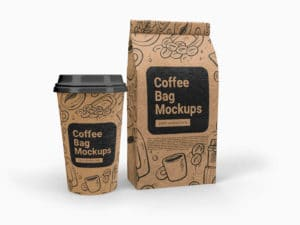 Cup and Coffee Bag Free Mockups