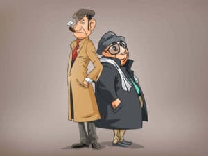 Two Detectives Cartoon Illustration