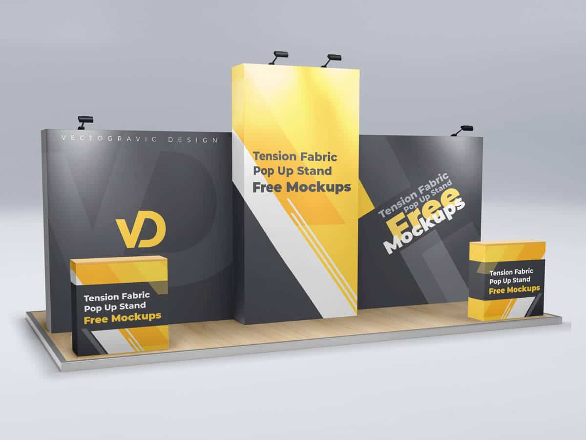 Tension Fabric Pop Up Stand Free Mockups