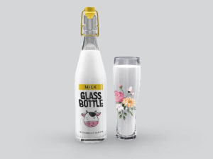 Milk Glass Bottle Mockups