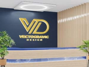 Logo Mockup at Receptionist Room