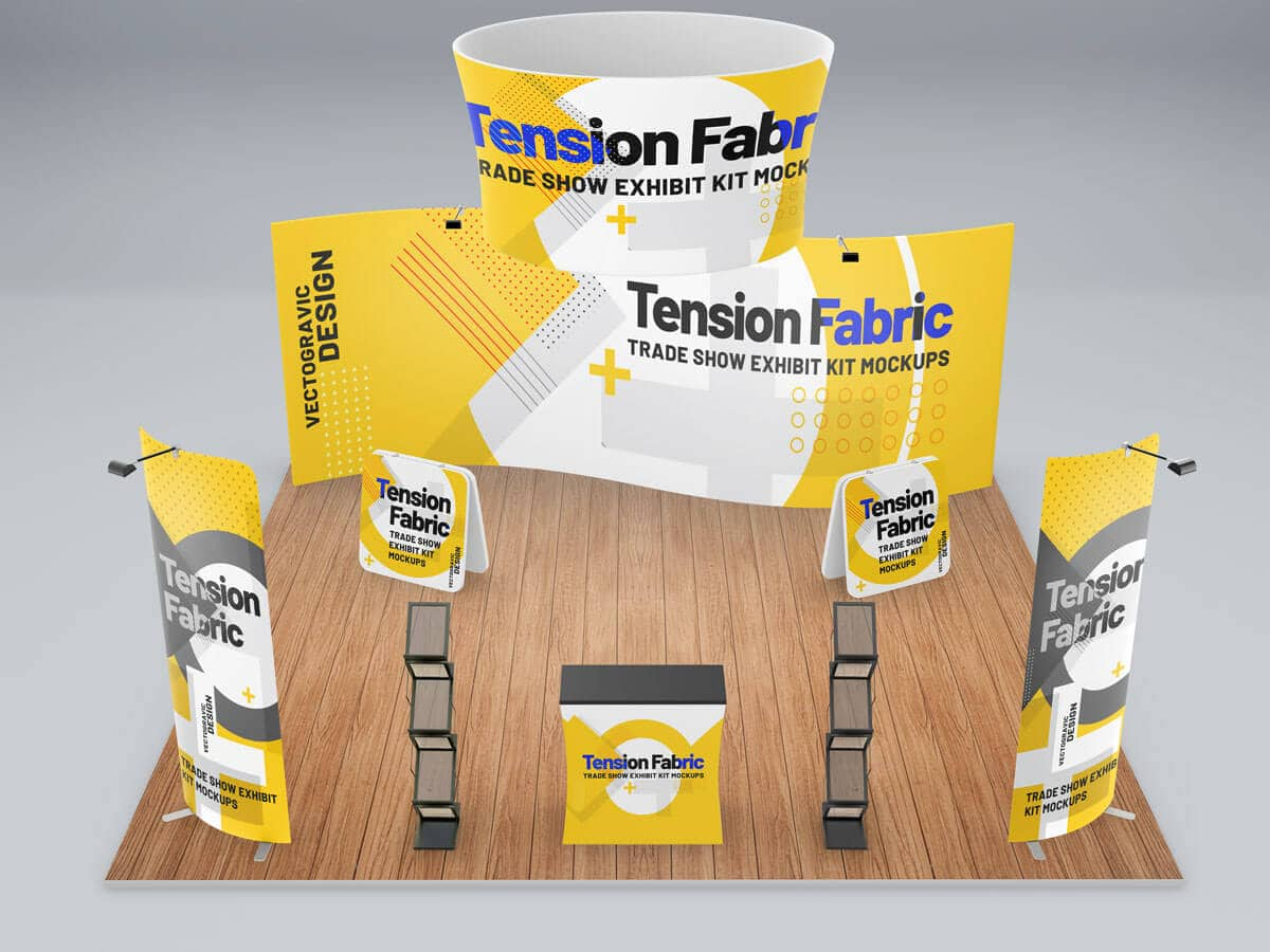 Tension Fabric Trade Show Exhibit Kit Mockups