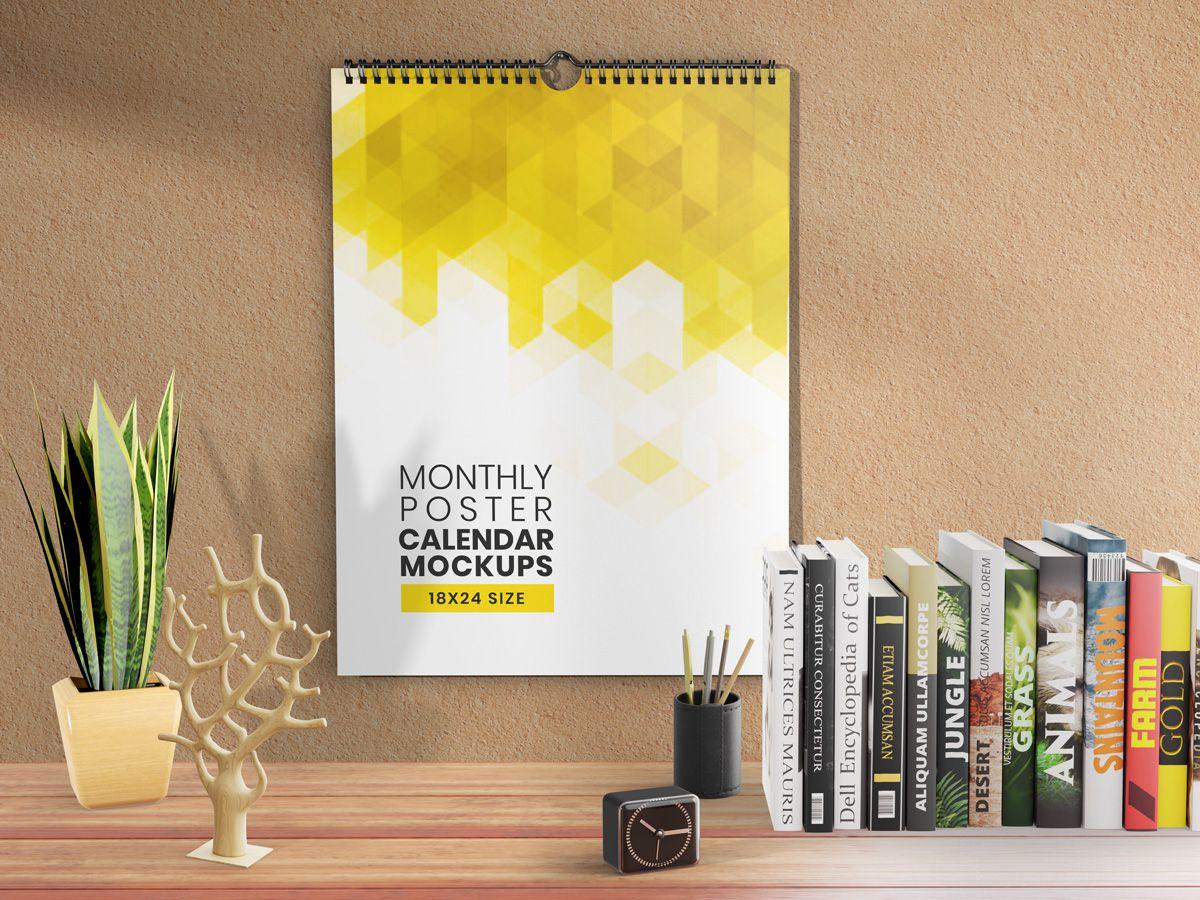 Monthly Poster Calendar Mockups 18×24 Size