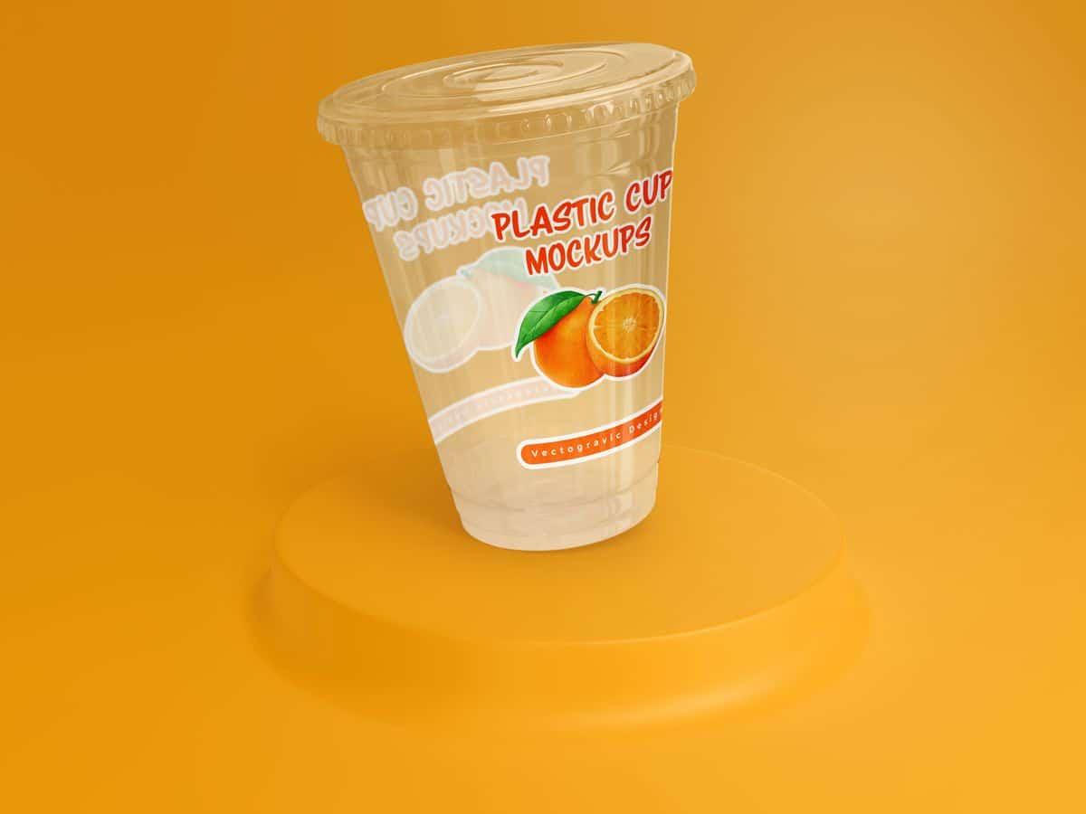 Flat Lid Disposable Transparent Plastic Cup Mockups