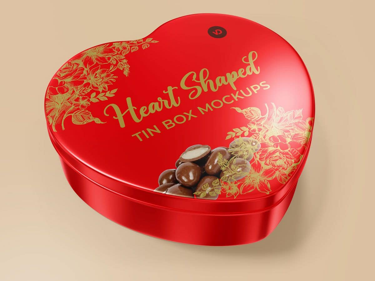 Heart Shaped Tin Box Mockups 01