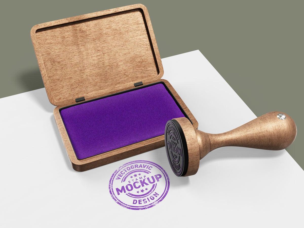 Wood Rubber Circle Stamp Mockup 1