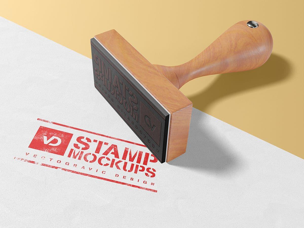 Wood rubber Stamp Mockup