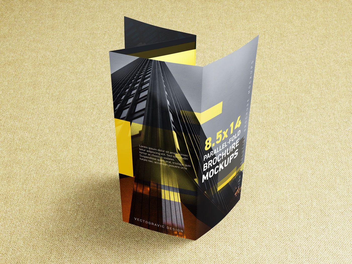 8.5×14 Parallel-fold Brochure Mockups