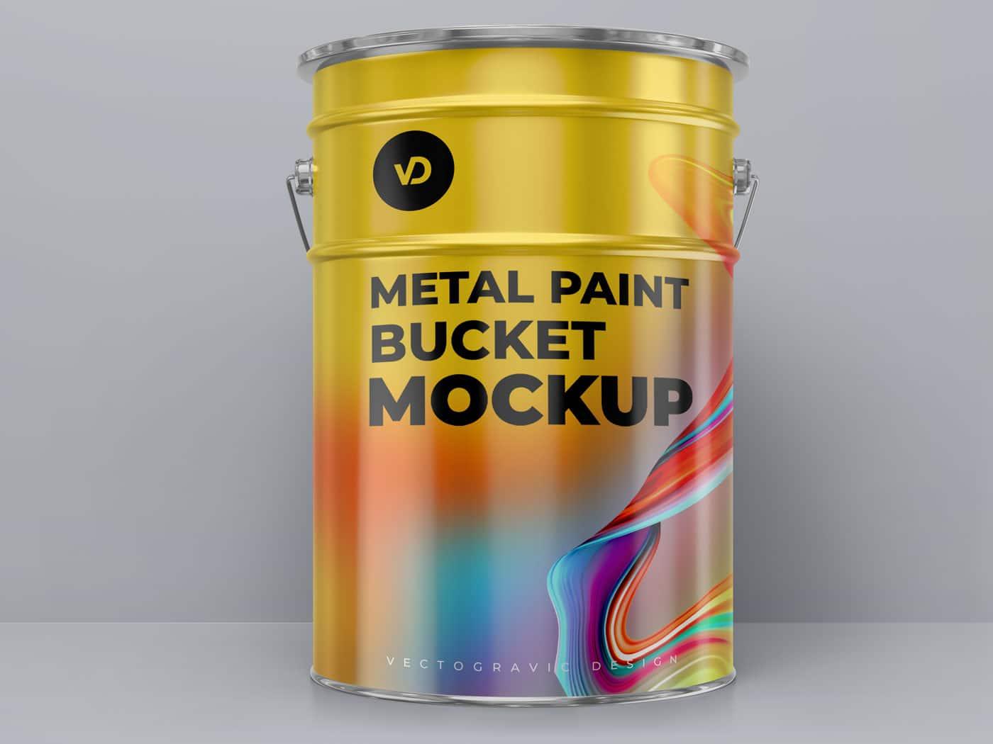 Metal paint bucket Mockups