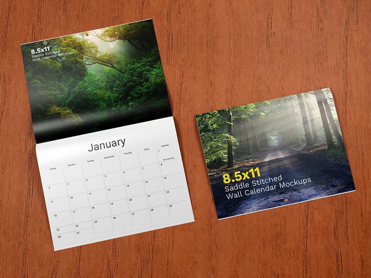 8.5×11 Saddle Stitched Wall Calendar Mockups